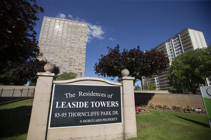 The sun reflects off of the Leaside Towers in Toronto, Ontario, July 6, 2018, where accused serial killer Bruce McArthur lived at the time of his arrest. Canadian police announced the discovery of human remains buried at a Toronto property where McArthur worked as a landscape gardener.