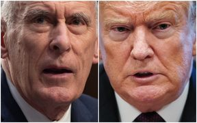 US President Donald Trump and the US national intelligence director Dan Coats.