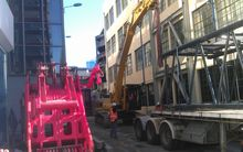 The nine storey lift shaft on Lukes Lane in Wellington was demolished after being deemed too dangerous in an earthquake.