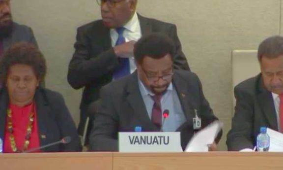 Vanuatu Justice Minister Don Ken fronts his country's response to the country's universal periodic review at the UN Human Rights Council in Geneva