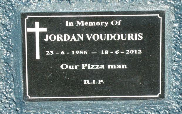 A memorial plaque to slain Paeroa pizza shop owner Jordan Voudouris.