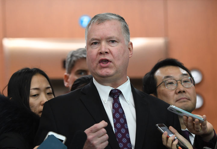 "US special representative on North Korea Stephen Biegun speaks to reporters as his South Korean counterpart Lee Do-hoon  looks on after their ""working group"" meeting handling North Korean issues in Seoul."