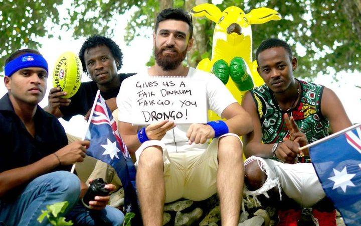 Manus Island refugees including Shaminda Kanapathi (left) and Abdul Aziz Muhamat.