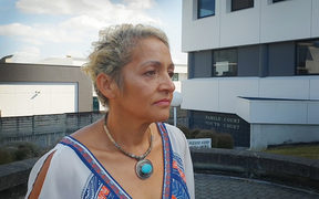 Marama Fox speaking to media outside the Hamilton District Court after appearing at sentencing for a drunk driving charge.
