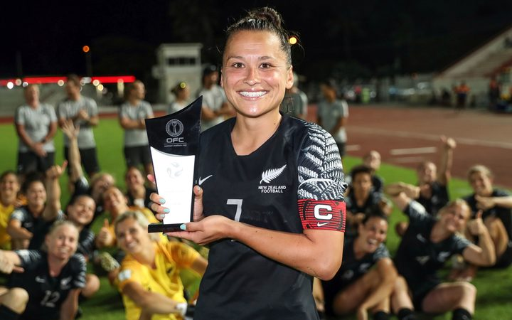 New Zealand's Ali Riley accepts the fair play award on behalf of New Zealand at the OFC Women's Nations Cup in December.