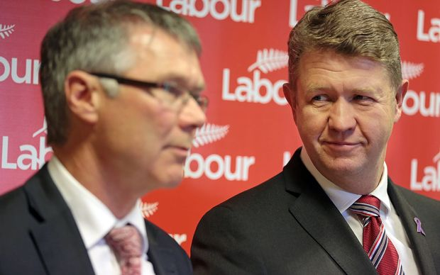 Labour Party leader David Cunliffe (right) and finance spokesperson David Parker outlining the KiwiSaver policy.
