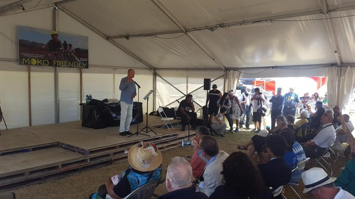 Don Brash, the former National Party leader delivers his speech at Waitangi.