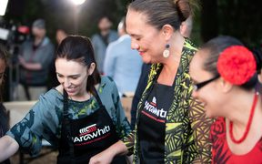 Prime Minister Jacinda Ardern leads the way on the BBQ.