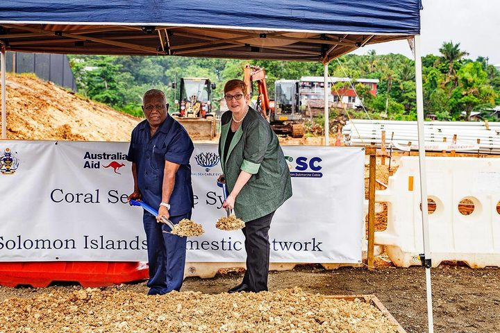 Australia's Foreign Minister, Marise Payne and Solomon Islands' caretaker Prime Minister Rick Hou in Honiara at a ceremonial ground-breaking event for the landing site of the Coral Sea Cable. 05-02-2018