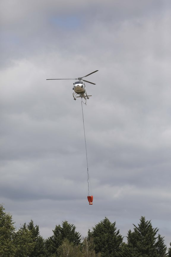 A helicopter at the Nelson fires