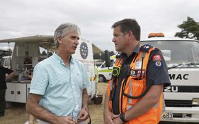 Richard Kempthorne, Tasman Mayor and Fire and Emergency, Tasman Marlborough Area Commander, Grant Haywood in Nelson.