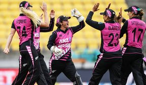 The White Ferns celebrate a wicket in the first T20 against India.