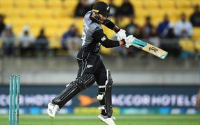 Black Caps batsman Tim Seifert hits out against India.
