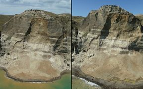 Two photos show the progressive slips at Cape Kidnappers where two people were injured.