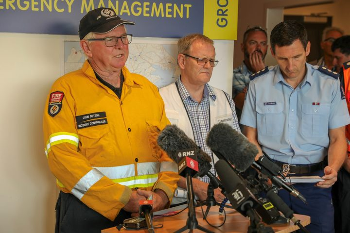 Fire and Emergency incident controller John Sutton speaks to media at this morning's first briefing.