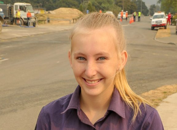 Teenager Maggie McLean commutes into work in Nelson.