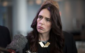 Jacinda Ardern speaks to media after her first major speech of the year to a business audience at a central city hotel in Auckland.