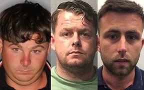 British men (from left) James Nolan, Tommy Ward and William Donohue are being sought over alleged roofing scams.