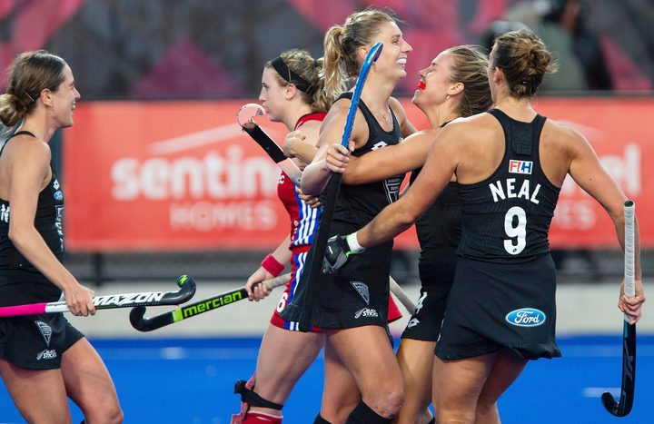 Olivia Merry of the Black Sticks women celebrates scoring a goal during the FIH Pro League for Hockey played between Great Britain v Black Sticks Women, Nga Puna Wai Hockey Stadium in Christchurch. 08 February 2019. Copyright Image: Joseph Johnson / www.photosport.nz.
