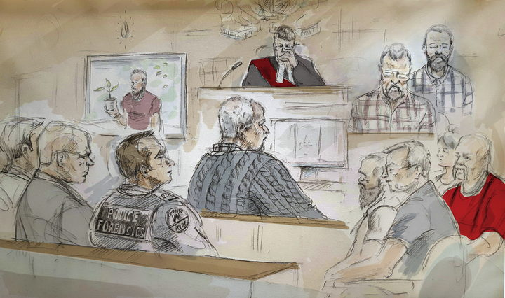 In this artist's sketch, serial killer Bruce McArthur, centre, attends his sentencing hearing in Toronto on Monday, Feb. 4, 2019.
