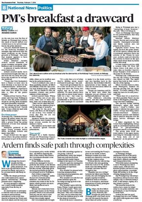 The PM's PR at Waitangi get top billing in the Dominion Post.