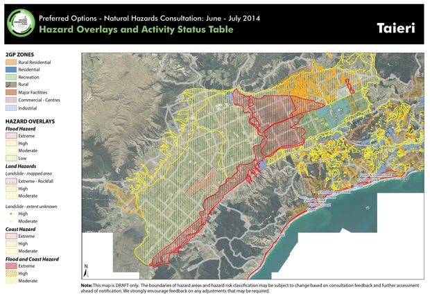 The proposed hazard map for Taieri.