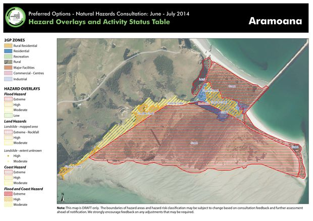 The proposed hazard map for Aramoana.