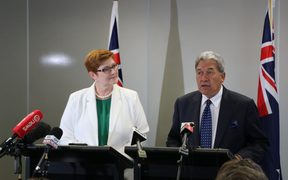 Australia's Minister for Foreign Affair Marise Payne and her New Zealand counterpart Winston Peters