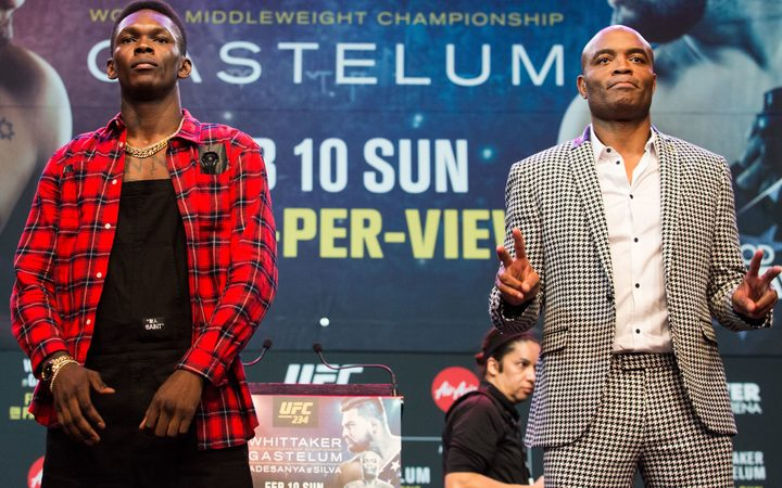 Israel Adesanya and Anderson Silva during UFC 234 Press Conference