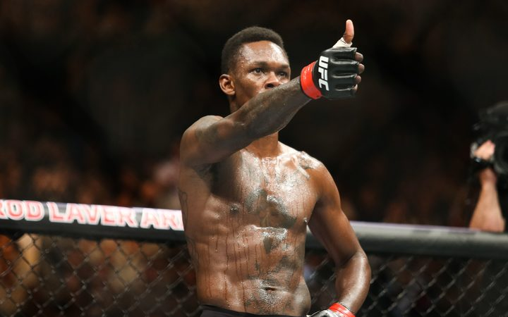 Israel Adesanya after his unanimous decision win over Brazil's Anderson Silva.