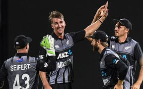 New Zealand bowler Blair Tickner celebrates the wicket of Pant on debut. New Zealand Black Caps v India. Twenty20 International cricket. 3rd T20. Seddon Park, Hamilton, New Zealand. Sunday 10 February 2019 © Copyright photo: Andrew Cornaga / www.photosport.nz