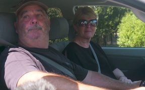 Michael and Judy Gullery in the escorted convoy through Wakefield.