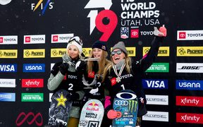 Zoi Sadowski Synnott of New Zealand wins the gold medal, Silje Norendal of Norway wins silver and Jamie Anderson of USA wins bronze at the FIS World Women's Snowboard Slopestyle 2019.