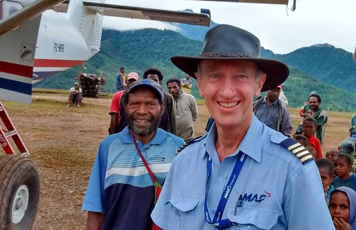 Captain Michael Duncalfe on his last day of flying for Mission Aviation Fellowship in PNG.