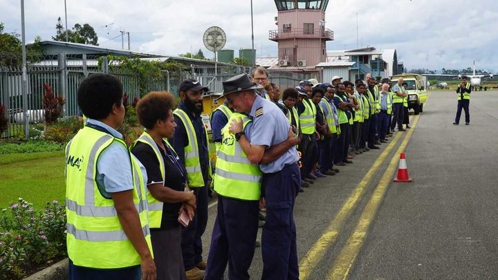 Captain Michael Duncalfe thanked by Mission Aviation Fellowship colleagues and other aviation staff at Mt Hagen's Kagamuga airport. 7 August 2019