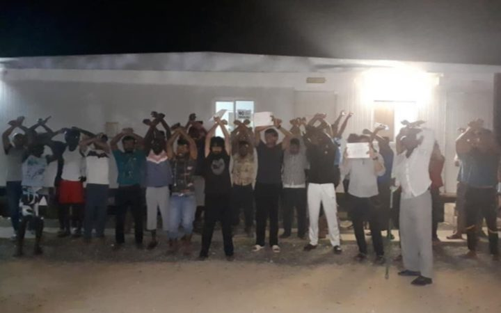 Refugees on Manus Island protest at the West Lorengau Transit Centre, 9-2-19.