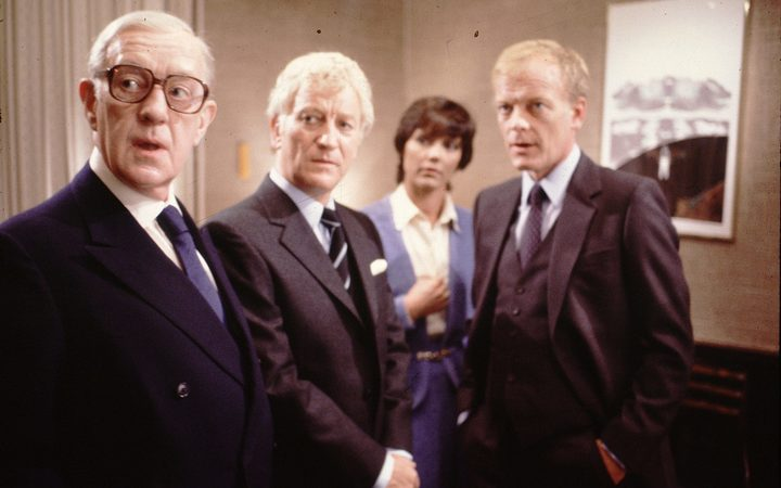 Alec Guinness (Smiley), Barry Foster (Saul Enderby), Lucy Fleming (Molly Meakin) and Michael Byrne (Peter Guillam) in Smiley's People (1982).