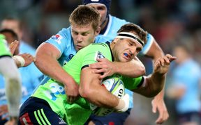 Highlanders loosie Luke Whitelock playing against the Waratahs.