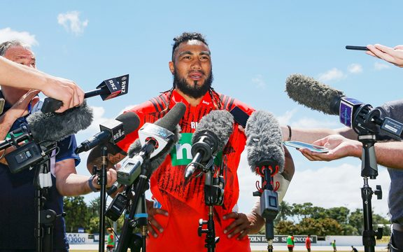 Ma'a Nonu talks to the media ahead of the Blues opening match of the Super rugby season.