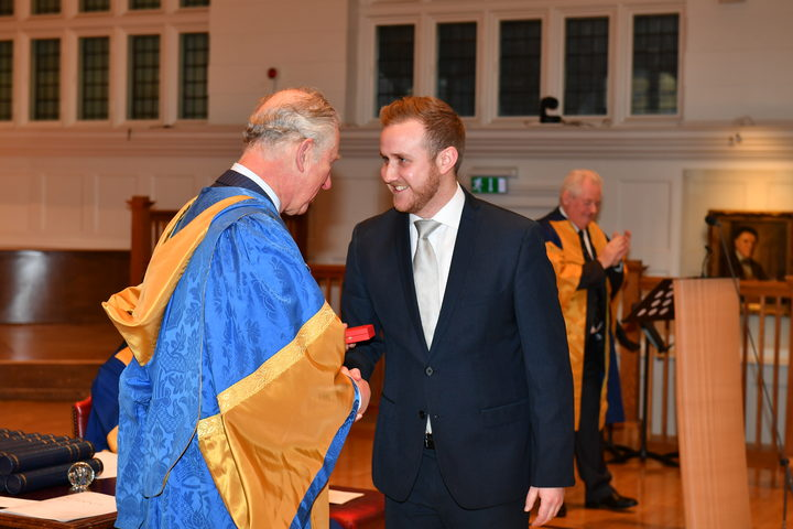 Julien Van Mellaerts receiving the Royal College of Music Tagore Gold Medal from HRH The Prince of Wales.