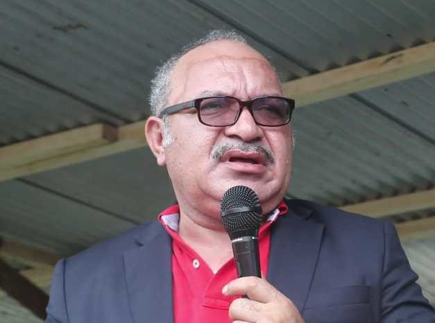 Papua New Guinea prime minister Peter O'Neill announcing new development projects in Madang 13 February 2019