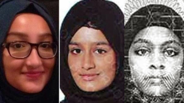 British teenagers, from left, Kadiza Sultana, Shamima Begum and Amira Abase pictured in images released by police in 2015.