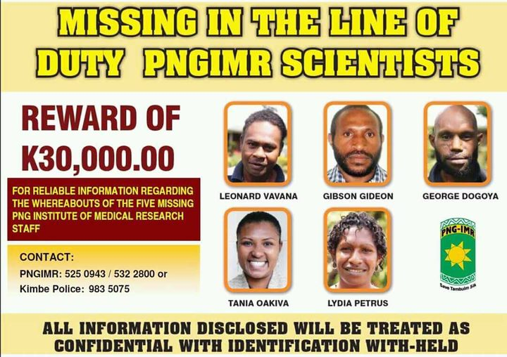 Reward poster for scientists who went missing in PNG in 2011