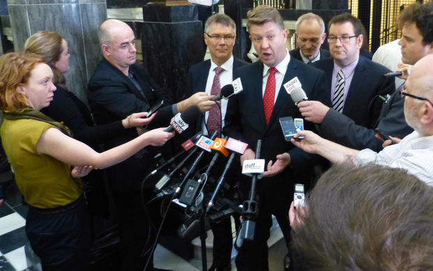 Labour leader David Cunliffe speaking to media at Parliament this week.