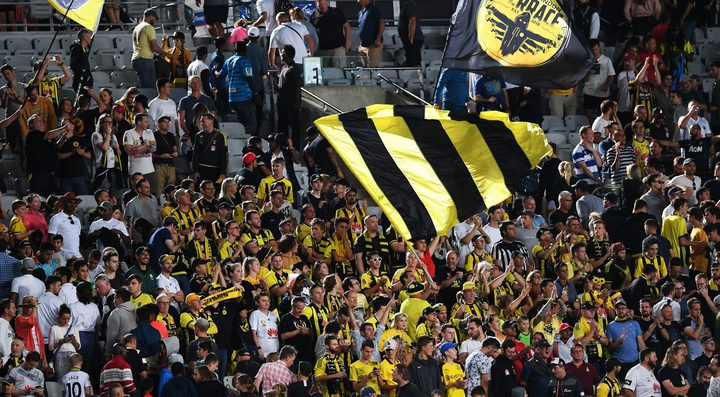 Wellington Phoenix fans show their support at Eden Park.
