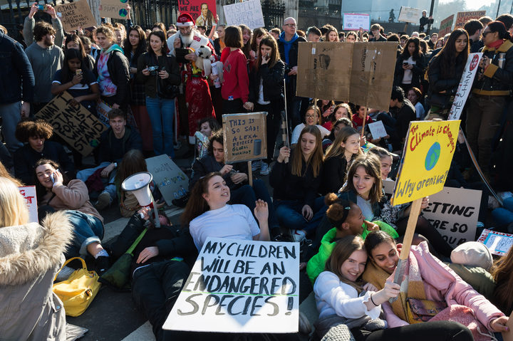 Students on strike in London over climate change.