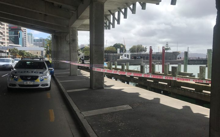 Police tape up at the scene at Wellington Harbour.