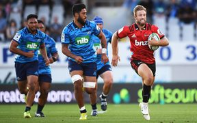 Crusaders centre Braydon Ennor hits the gas in his side's Super Rugby win over the Blues.