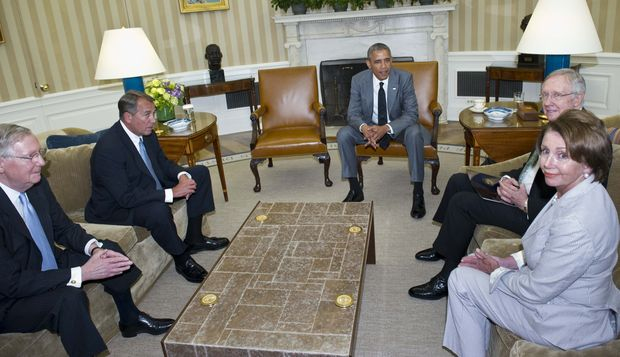 President Barack Obama, centre, met with the Congressional leadership on Wednesday.