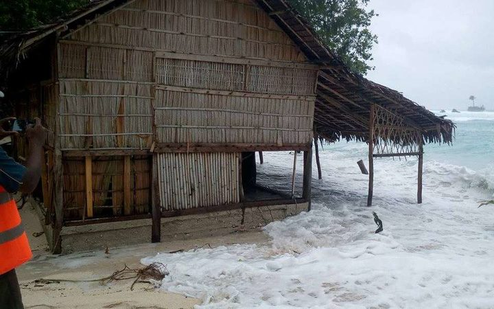 On Rah Island, in Vanuatu's Torba province, swells whipped up by Cyclone Oma rushed  as far as 50 metres inland, according to the Red Cross.